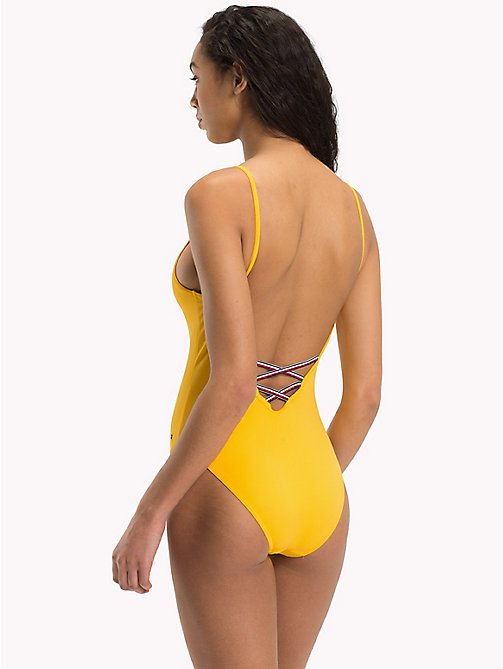 TOMMY HILFIGER Logo One-Piece Swimsuit - SPECTRA YELLOW - TOMMY HILFIGER Swimsuits - detail image 1