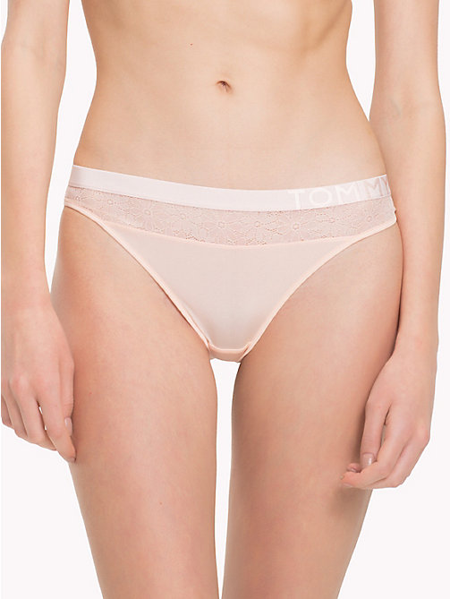 TOMMY HILFIGER Floral Mesh Thong - PALE PINK - TOMMY HILFIGER Underwear & Swimwear - main image