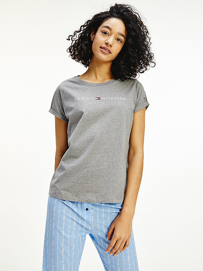 grey logo cotton t-shirt for women tommy hilfiger