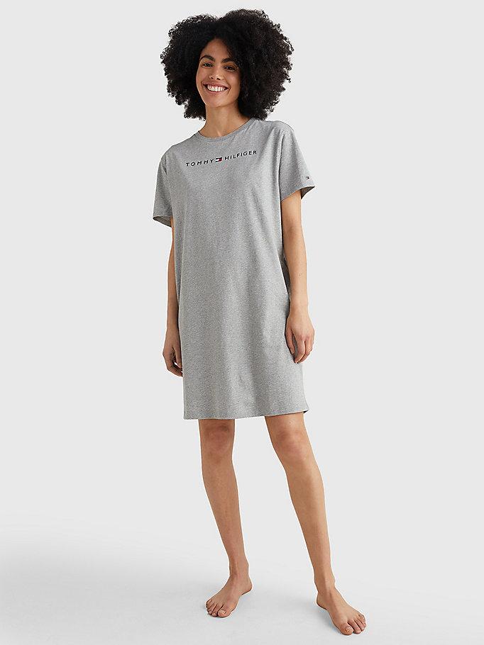 Tommy Hilfiger Short Sleeve Logo Night Dress Grey Heather