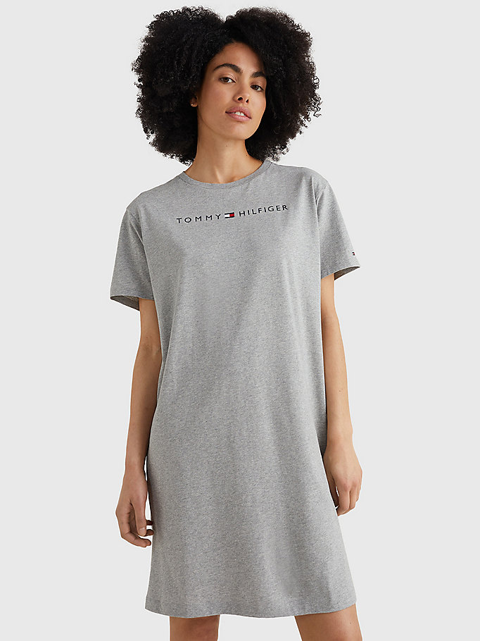 grey logo print night dress for women tommy hilfiger
