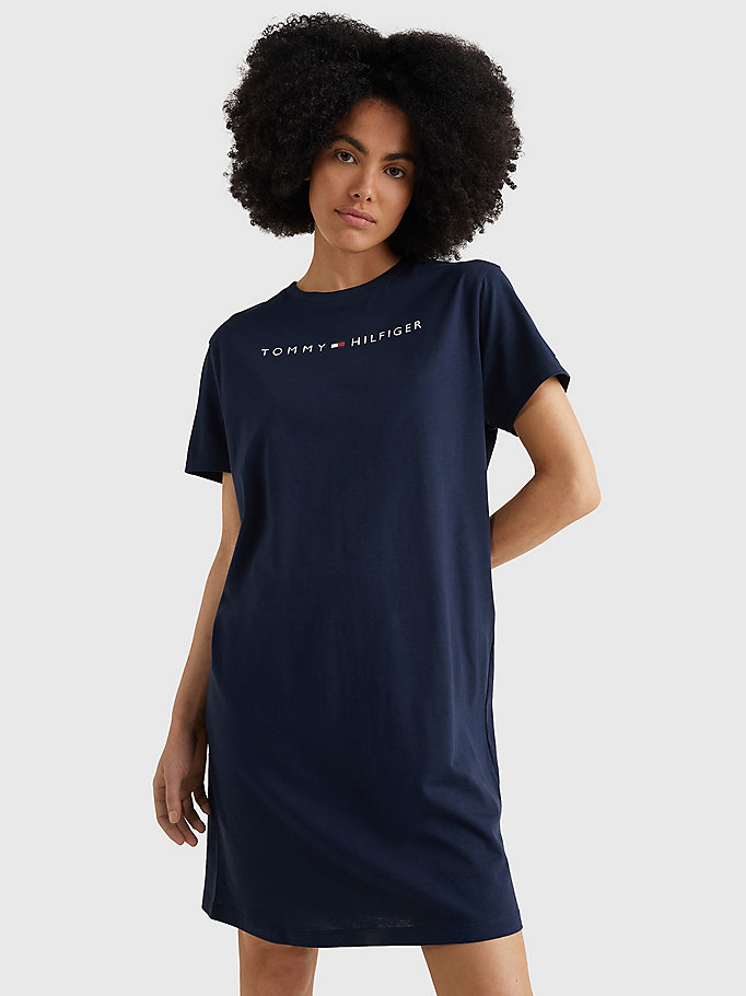 blue logo print night dress for women tommy hilfiger