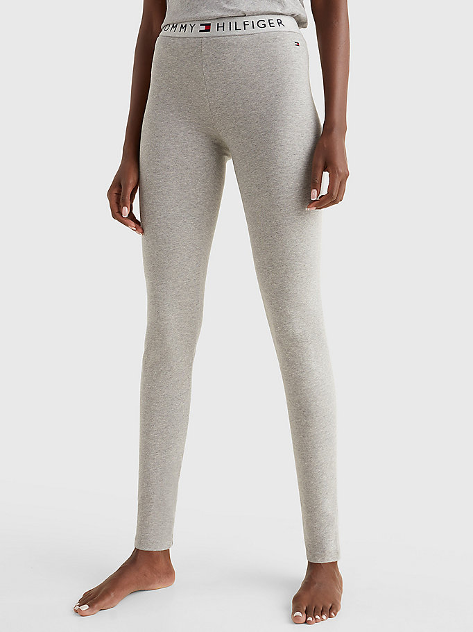 grey full length logo leggings for women tommy hilfiger