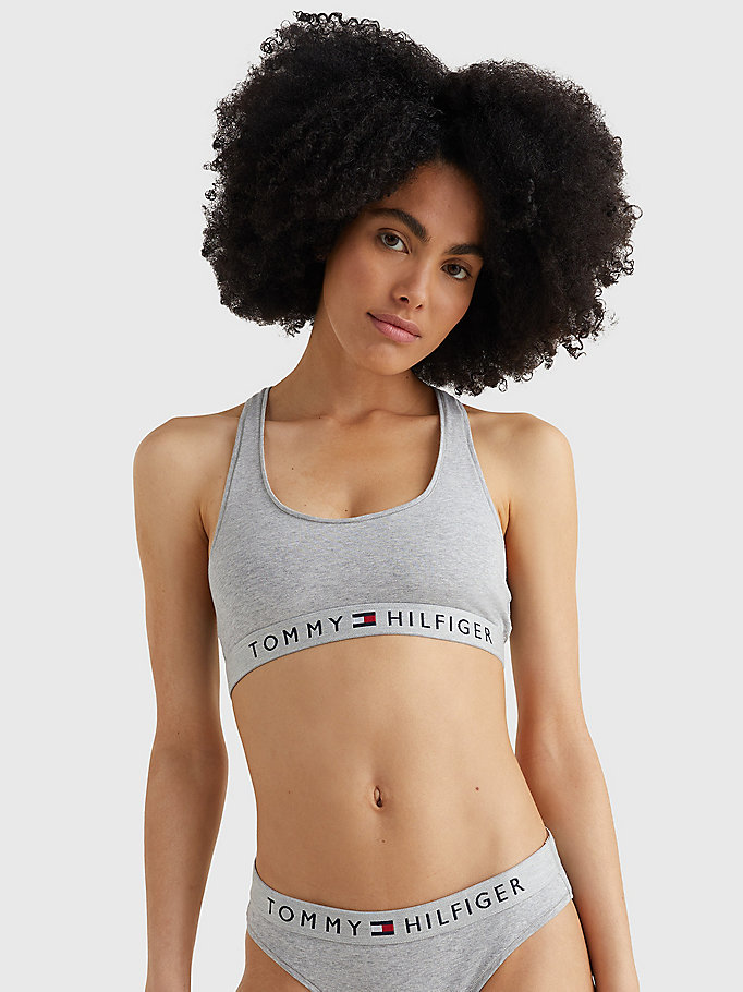 grey racerback scoop neck bralette for women tommy hilfiger