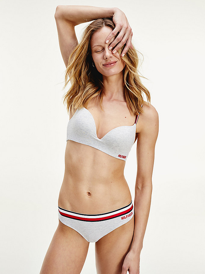 grey logo stretch cotton push-up bra for women tommy hilfiger