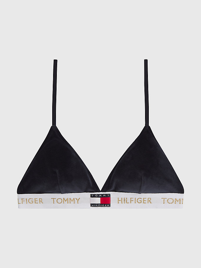 blue velour padded triangle bra for women tommy hilfiger