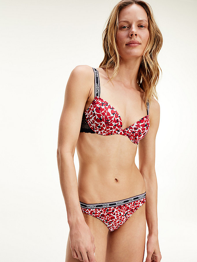 red star and heart print lace bra for women tommy hilfiger