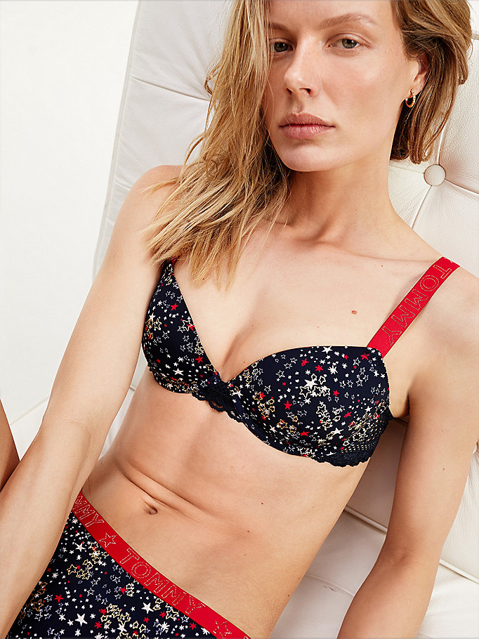 red star print lace bra for women tommy hilfiger