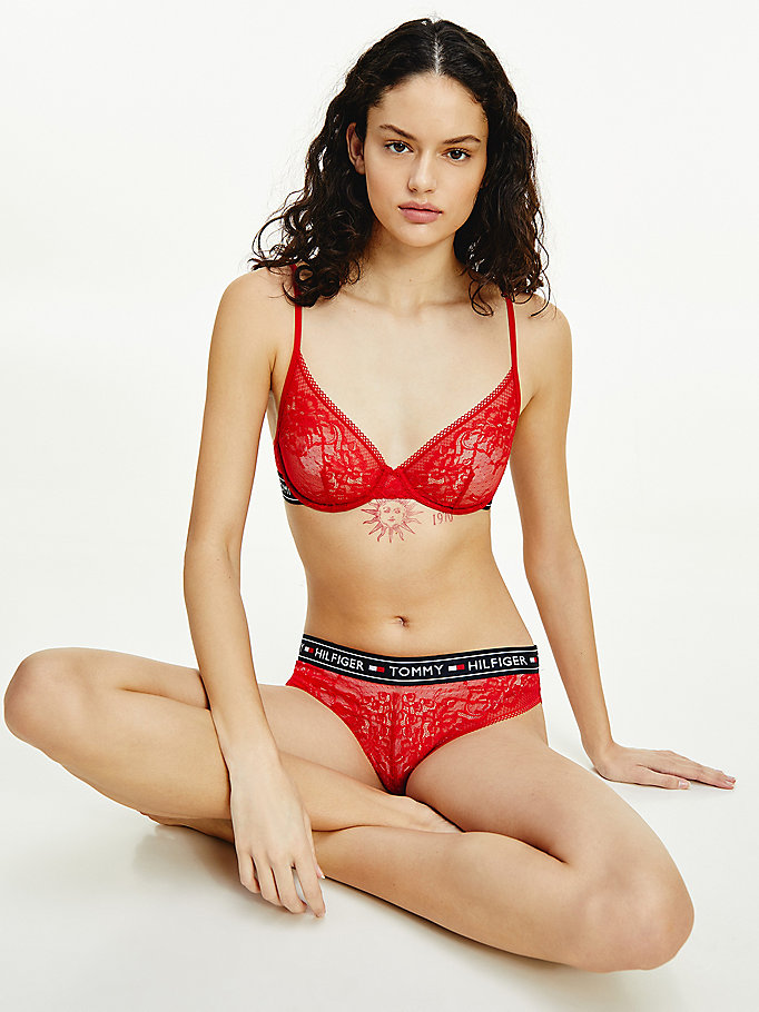 red floral lace plunge bra for women tommy hilfiger