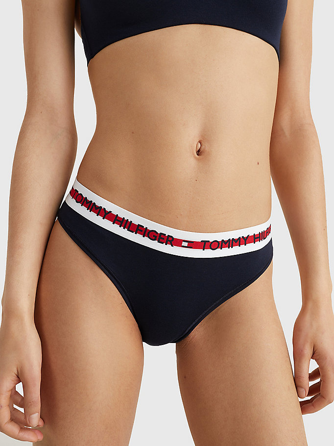 blue repeat logo stretch organic cotton briefs for women tommy hilfiger