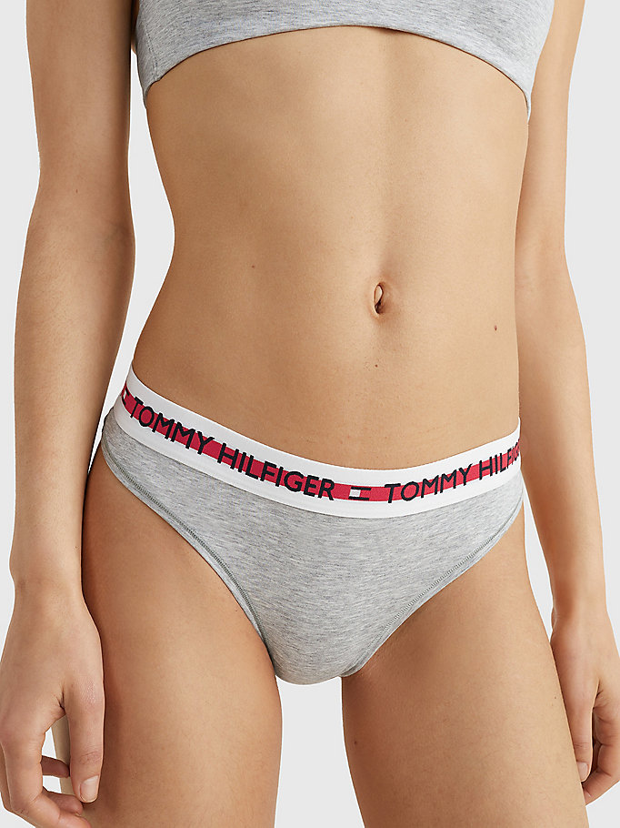 grey logo organic cotton blend thong for women tommy hilfiger