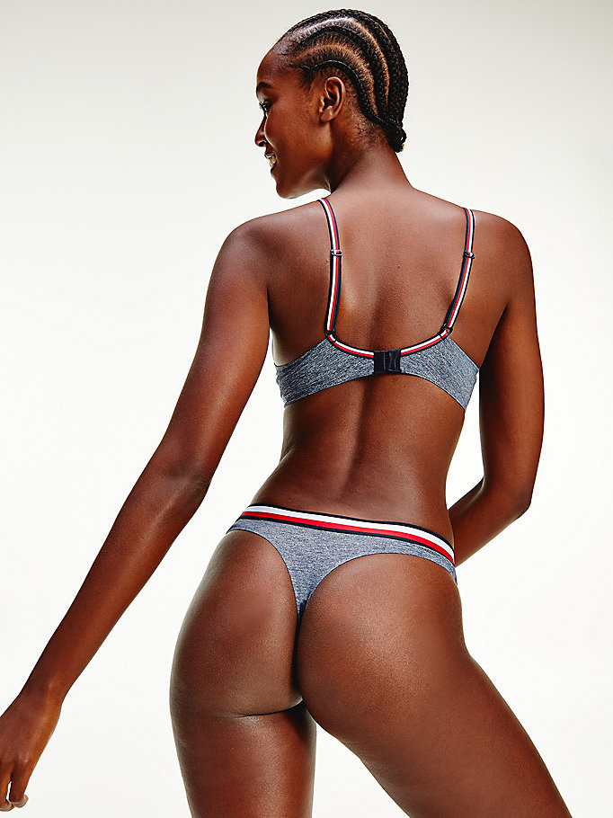 blue th modern signature tape thong for women tommy hilfiger