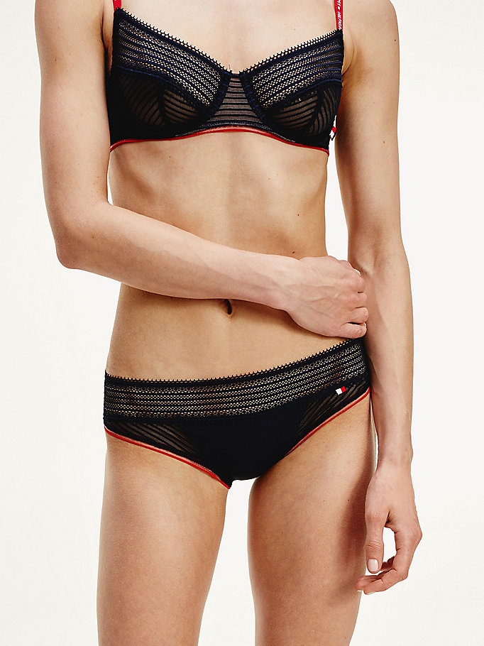blue lace mesh stripe briefs for women tommy hilfiger