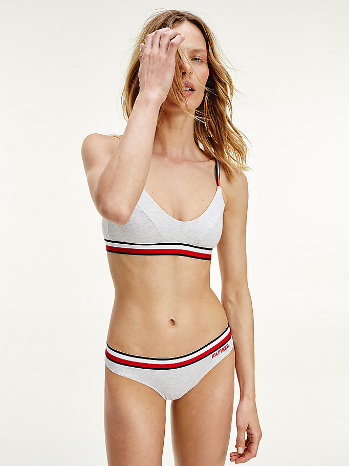 grey stripe waist organic stretch cotton thong for women tommy hilfiger