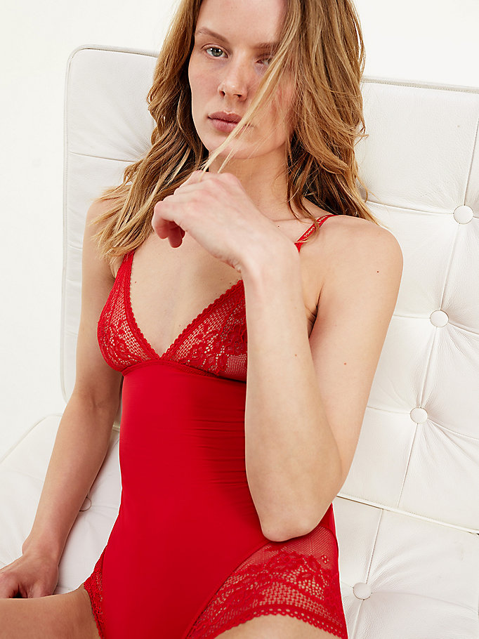 red floral lace body for women tommy hilfiger