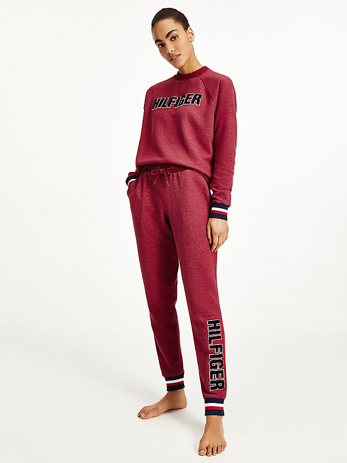 purple fleece appliqué logo joggers for women tommy hilfiger