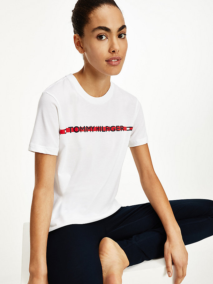 white logo tape t-shirt for women tommy hilfiger