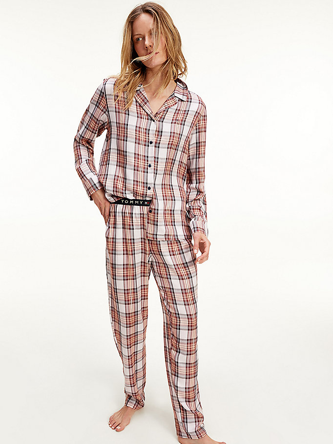 pink metallic plaid check pyjamas for women tommy hilfiger