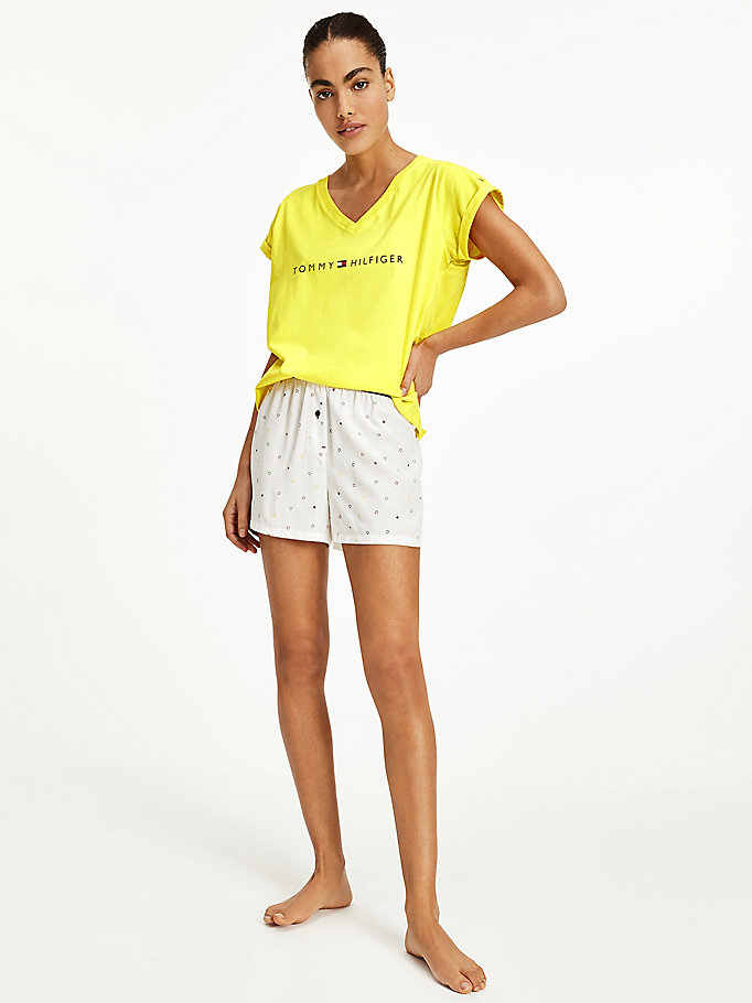 yellow t-shirt and shorts pyjama set for women tommy hilfiger