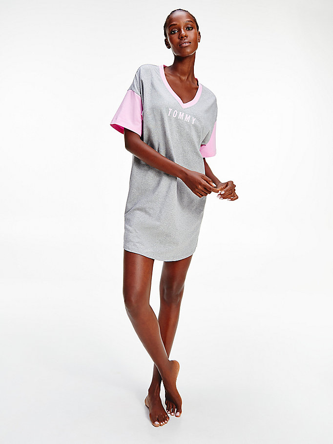 grey organic cotton v-neck logo nightdress for women tommy hilfiger