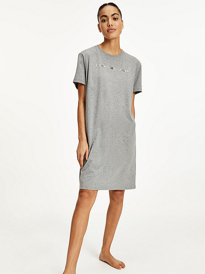 grey gold-tone logo half sleeve nightdress for women tommy hilfiger