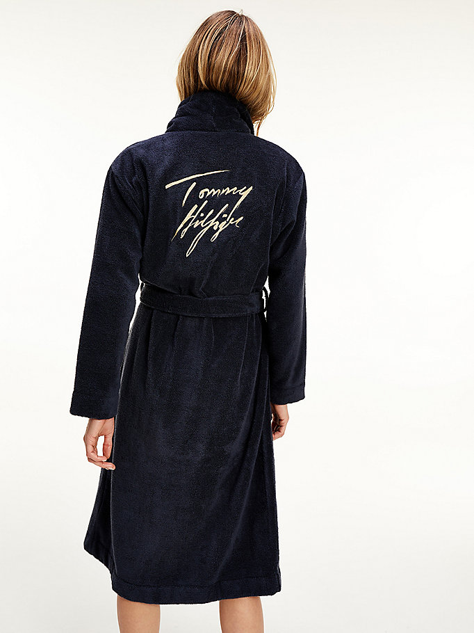 blue metallic logo organic cotton towelling robe for women tommy hilfiger