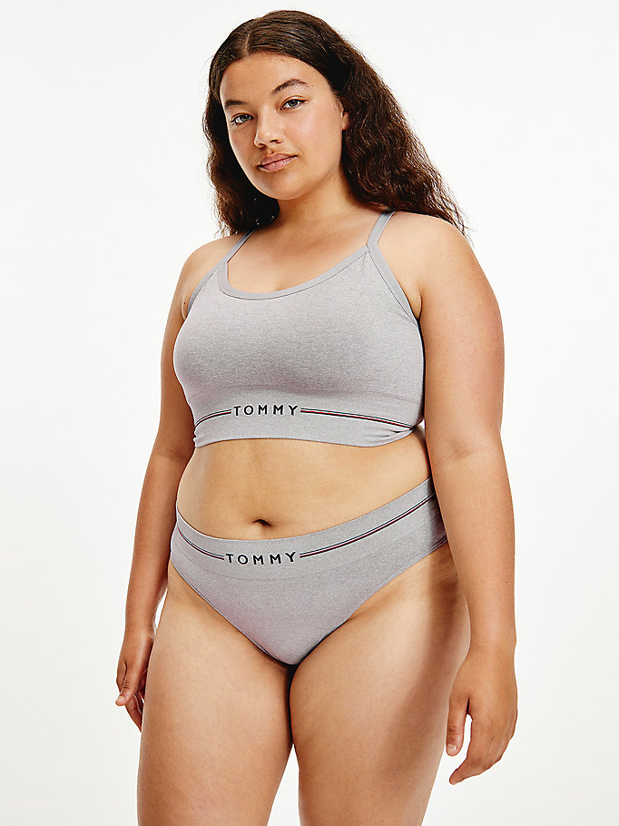 grey curve seamless logo thong for women tommy hilfiger