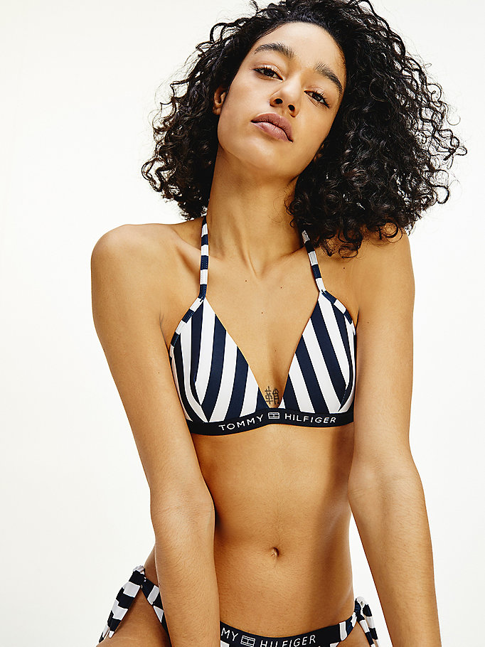 white stripe fixed triangle bikini top for women tommy hilfiger