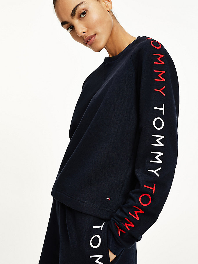 blue logo embroidery sweatshirt for women tommy hilfiger