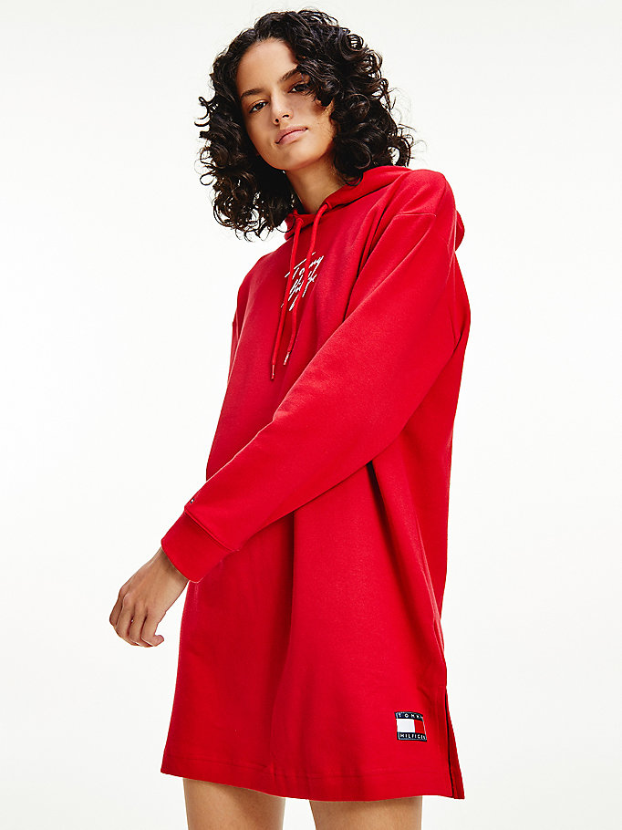 red organic cotton signature logo hoody dress for women tommy hilfiger