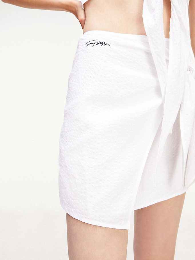 white cotton seersucker signature mini skirt for women tommy hilfiger