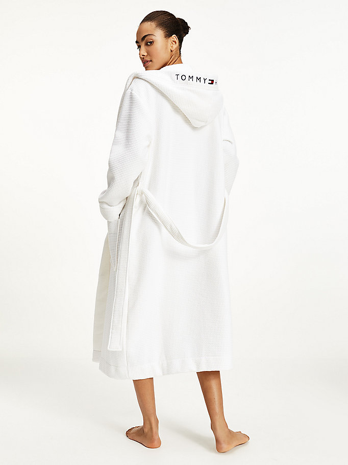 white waffle hooded bathrobe for women tommy hilfiger