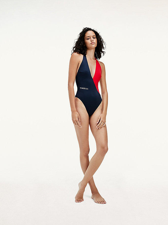 red colour-blocked cheeky fit swimsuit for women tommy hilfiger