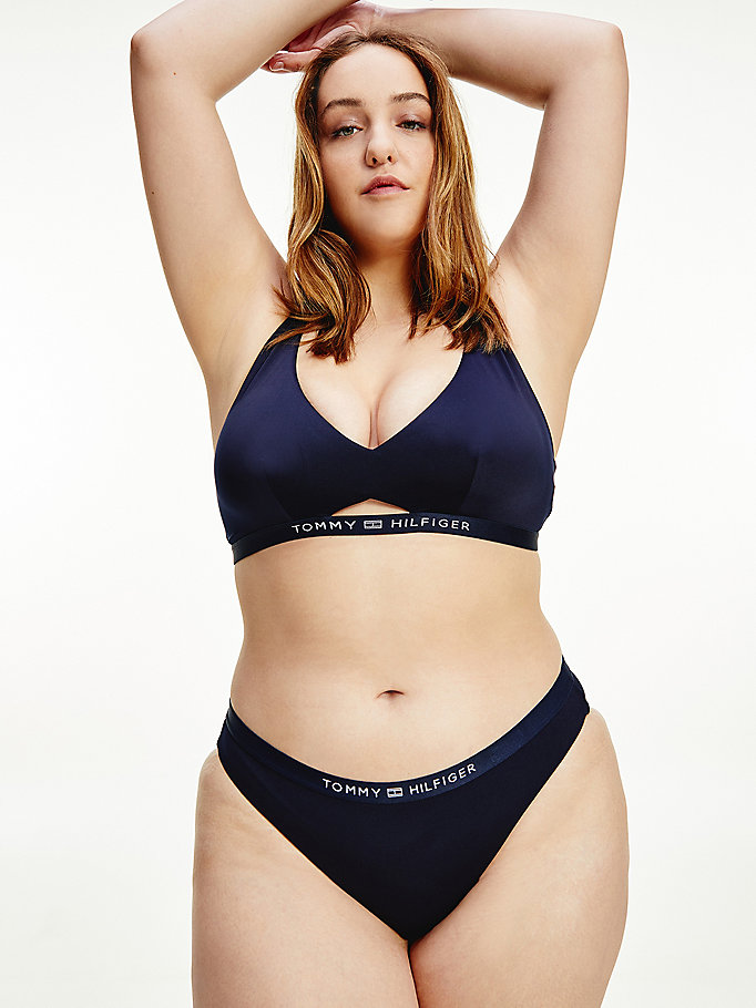 blue curve logo bikini bottoms for women tommy hilfiger
