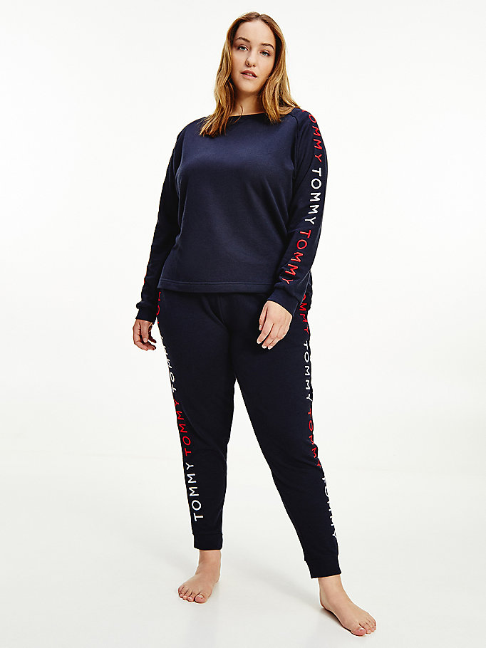 blue curve logo embroidery sweatshirt for women tommy hilfiger