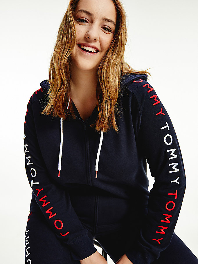 blue curve repeat logo zip-thru hoody for women tommy hilfiger