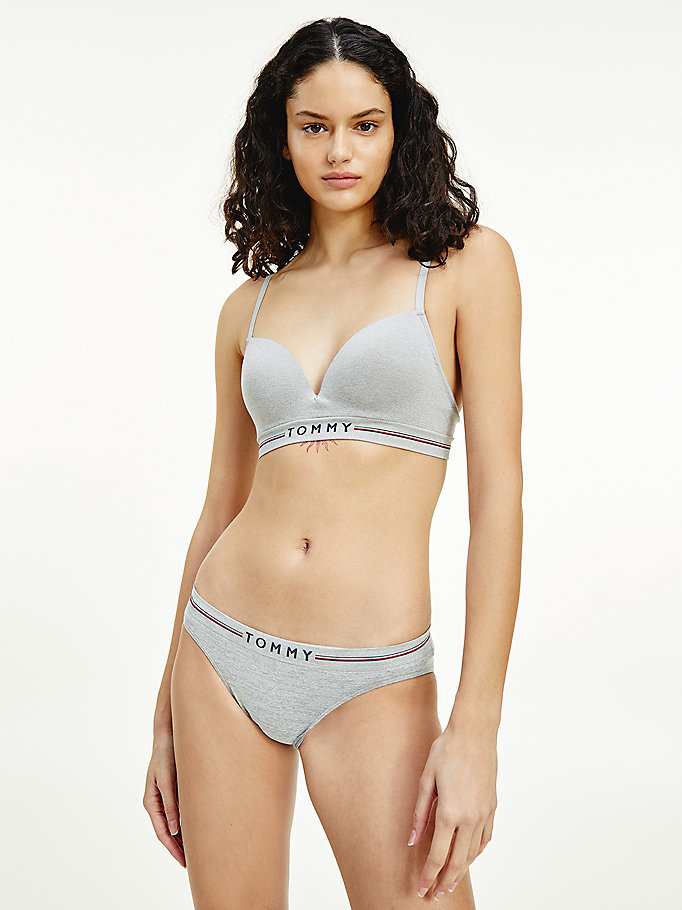 grey seamless non-wired push-up bra for women tommy hilfiger