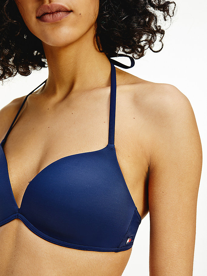 blue push-up bikini top for women tommy hilfiger