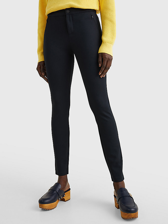 black heritage skinny fit trousers for women tommy hilfiger
