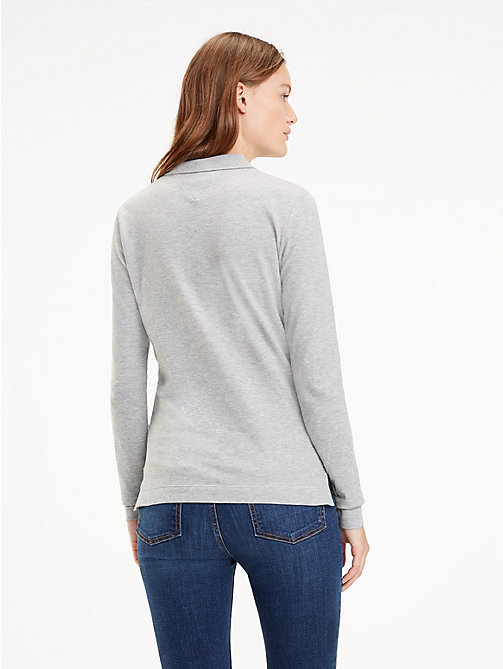 TOMMY HILFIGER Slim Fit Long Sleeve Polo Shirt - LIGHT GREY HTR - TOMMY HILFIGER Tops - detail image 1