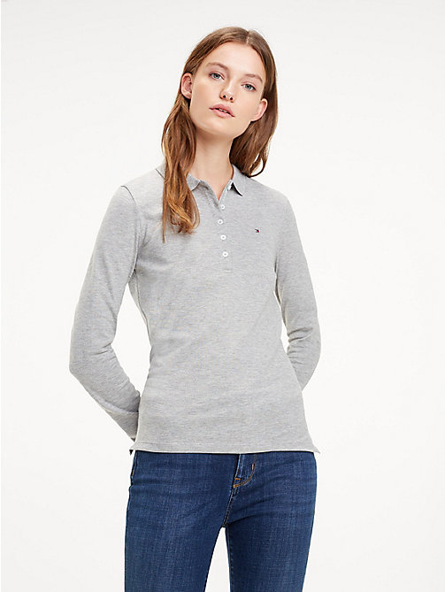 TOMMY HILFIGER Slim Fit Long Sleeve Polo Shirt - LIGHT GREY HTR - TOMMY HILFIGER Tops - main image