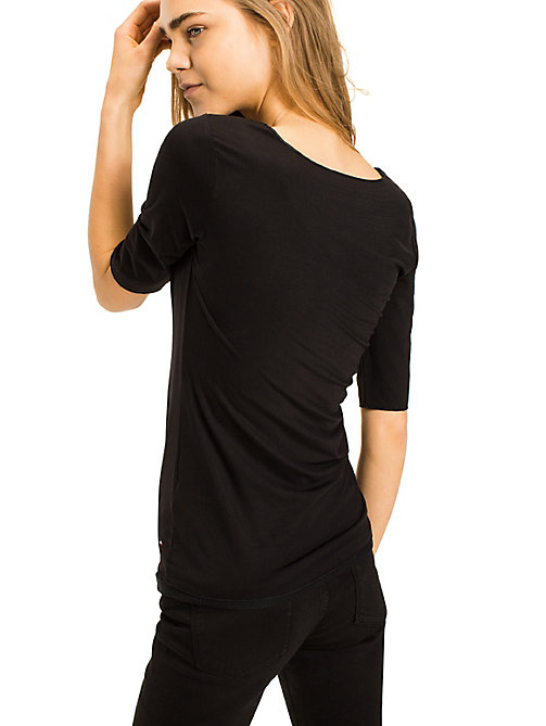TOMMY HILFIGER Scoop Neck Top - MASTERS BLACK - TOMMY HILFIGER Basics - detail image 1
