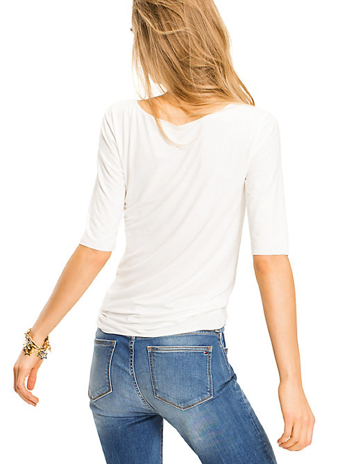 TOMMY HILFIGER Scoop Neck Top - SNOW WHITE - TOMMY HILFIGER Basics - detail image 1