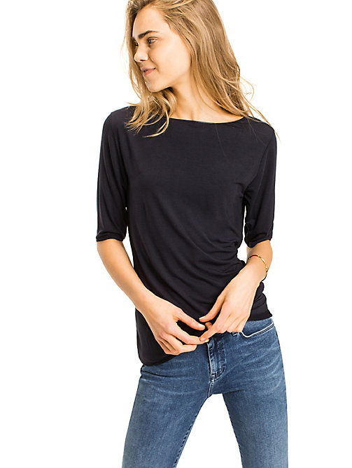 TOMMY HILFIGER Scoop Neck Top - NIGHT SKY - TOMMY HILFIGER Basics - main image