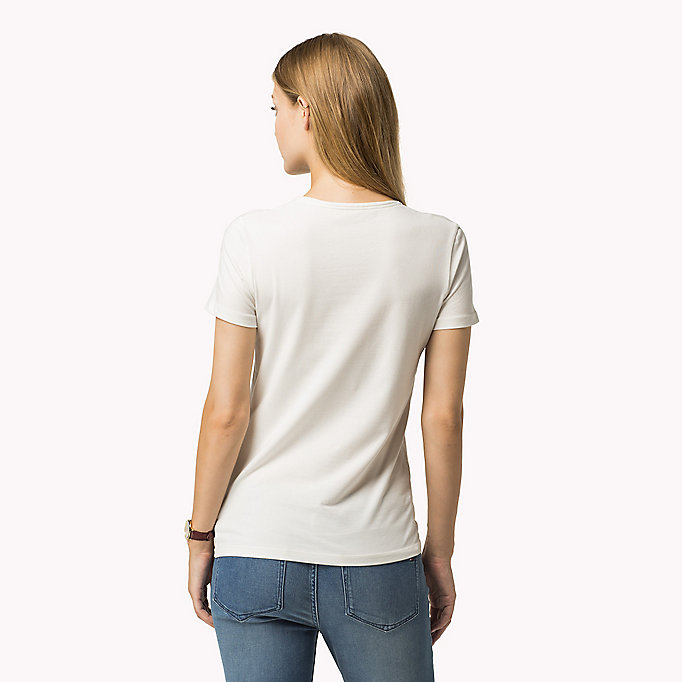 TOMMY HILFIGER Essential V-Neck Organic Cotton Top - HYDRANGEA - TOMMY HILFIGER Clothing - detail image 1