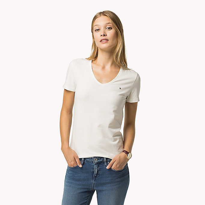 TOMMY HILFIGER Essential V-Neck Organic Cotton Top - HYDRANGEA - TOMMY HILFIGER Clothing - main image