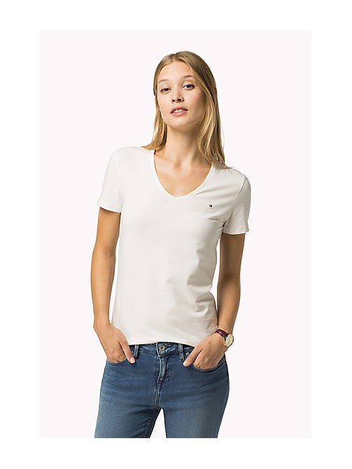 TOMMY HILFIGER Essential V-Neck Organic Cotton Top - SNOW WHITE - TOMMY HILFIGER Sustainable Evolution - main image