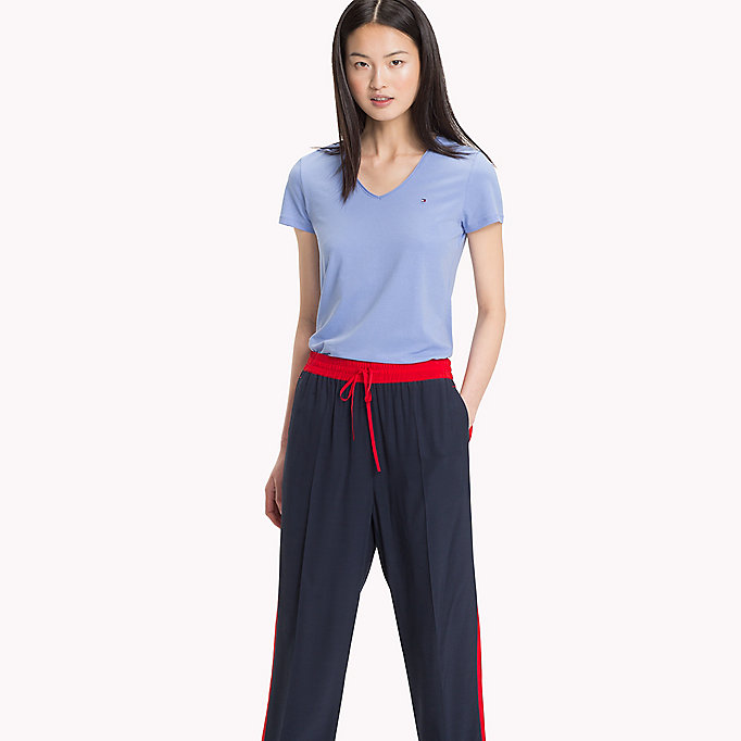 TOMMY HILFIGER Essential V-Neck Organic Cotton Top - CRIMSON - TOMMY HILFIGER Clothing - main image