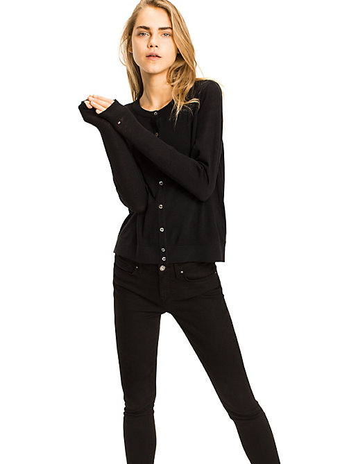 TOMMY HILFIGER Cardigan in lana fine - MASTERS BLACK - TOMMY HILFIGER Maglieria - immagine principale