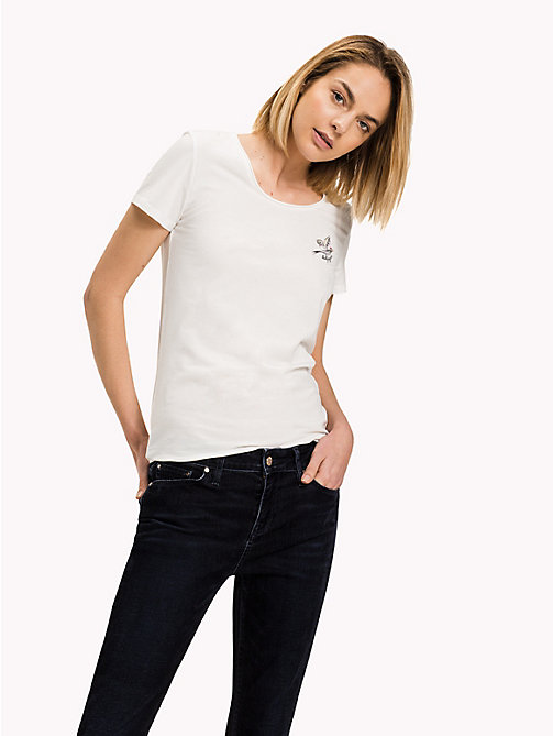 TOMMY HILFIGER Cotton Round Neck Top - SNOW WHITE - TOMMY HILFIGER Tops - main image